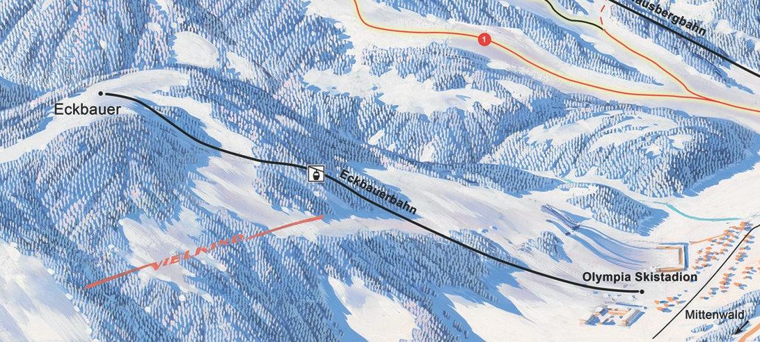 Lyžařská mapa sjezdovek areálu Eckbauer