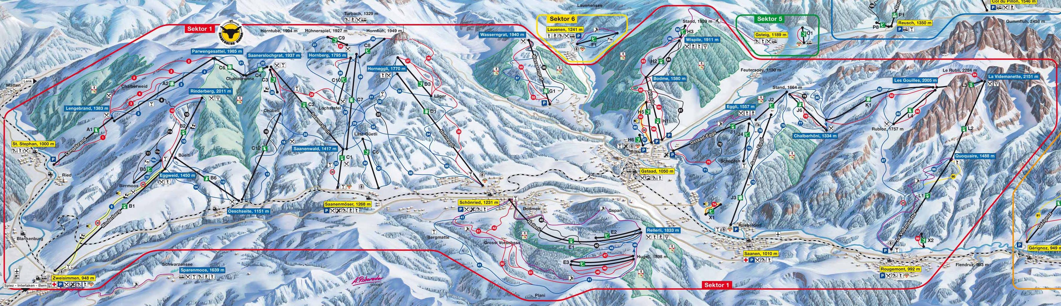 Lyžařská mapa sjezdovek areálu Eggli - La Videmanette