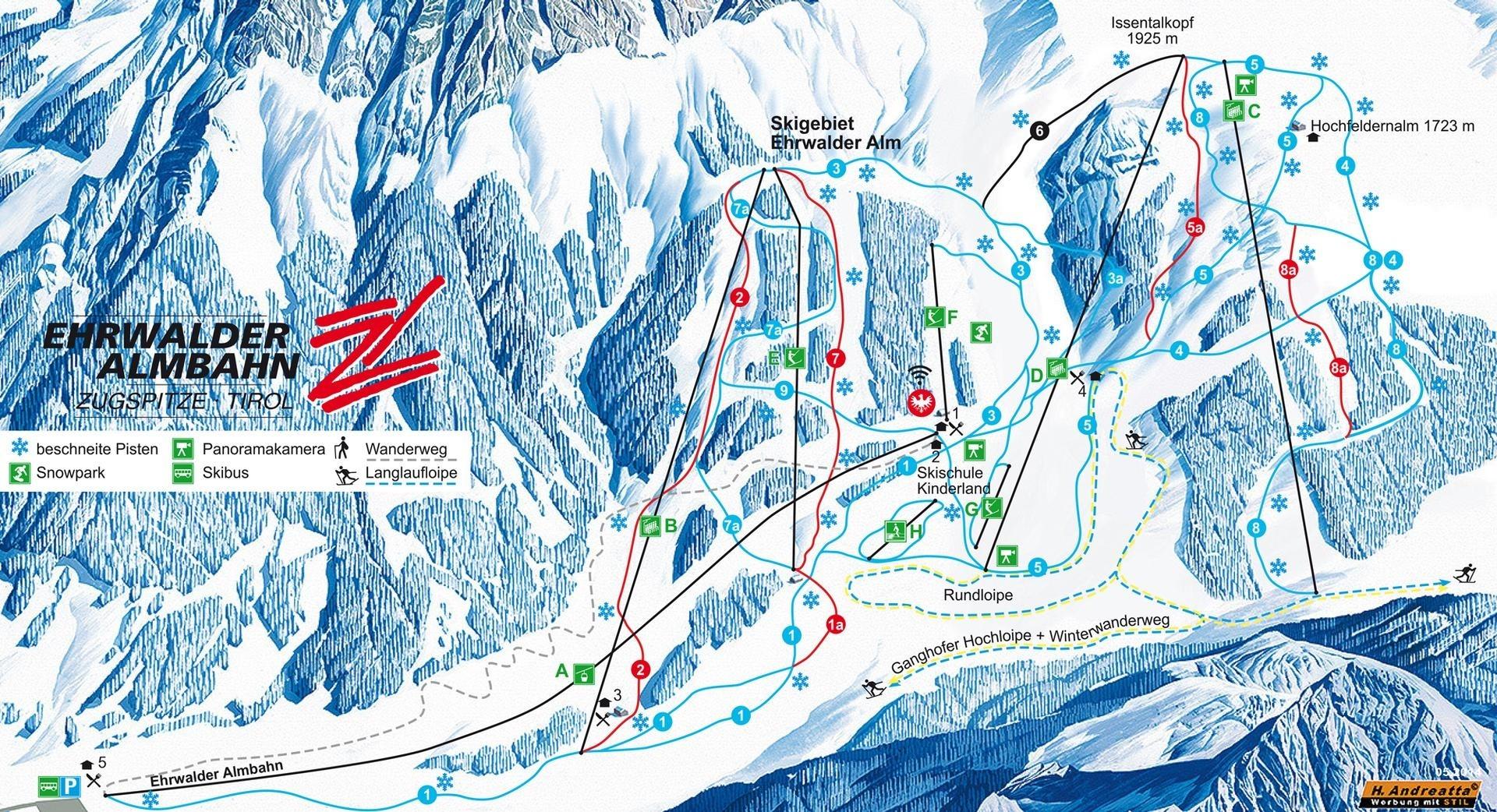 Lyžařská mapa sjezdovek areálu Ehrwald / Wettersteinbahnen
