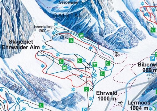 Lyžařská mapa sjezdovek areálu Ehrwald / Ehrwalder Alm