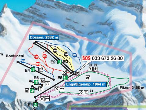 Lyžařská mapa sjezdovek areálu Engstligenalp