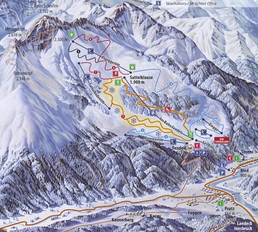 Lyžařská mapa sjezdovek areálu Fendels