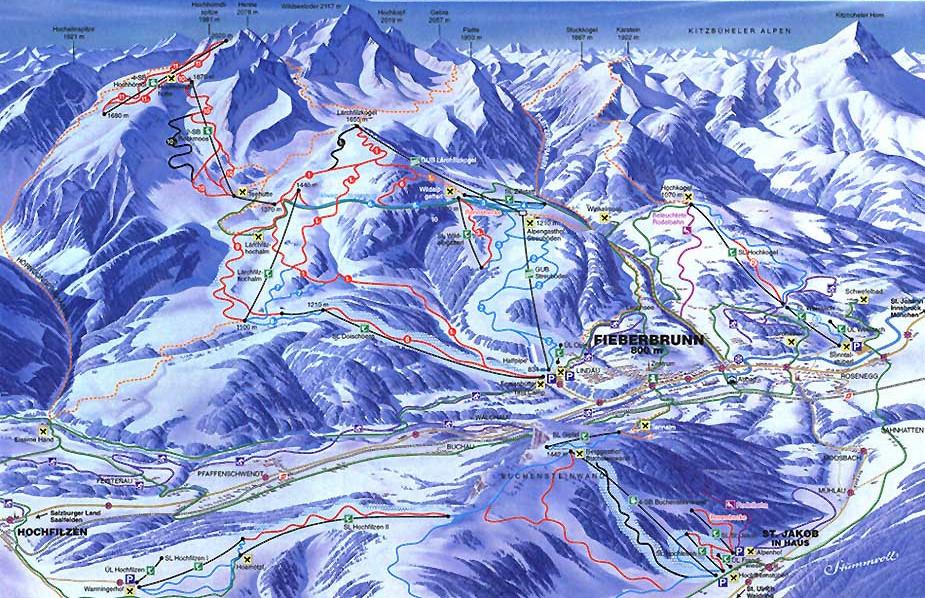 Lyžařská mapa sjezdovek areálu Fieberbrunn