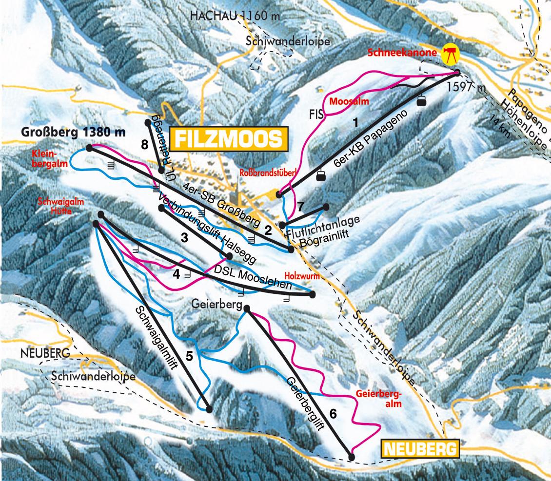 Lyžařská mapa sjezdovek areálu Filzmoos - Neuberg