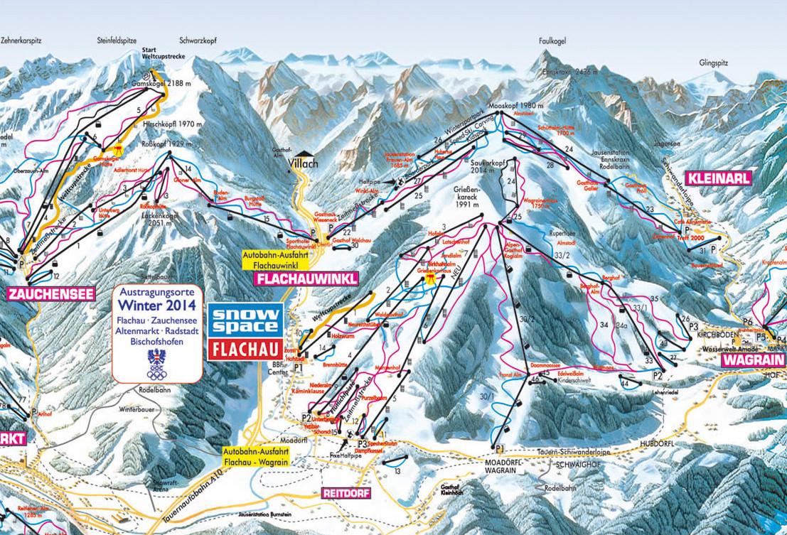Lyžařská mapa sjezdovek areálu Flachau