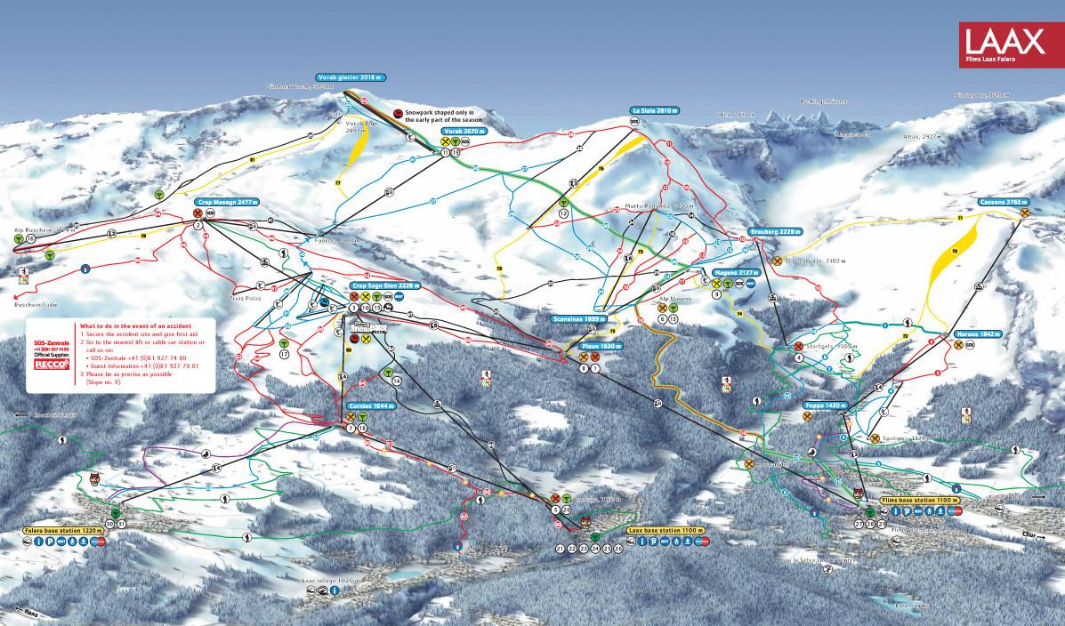Lyžařská mapa sjezdovek areálu Flims Laax Falera
