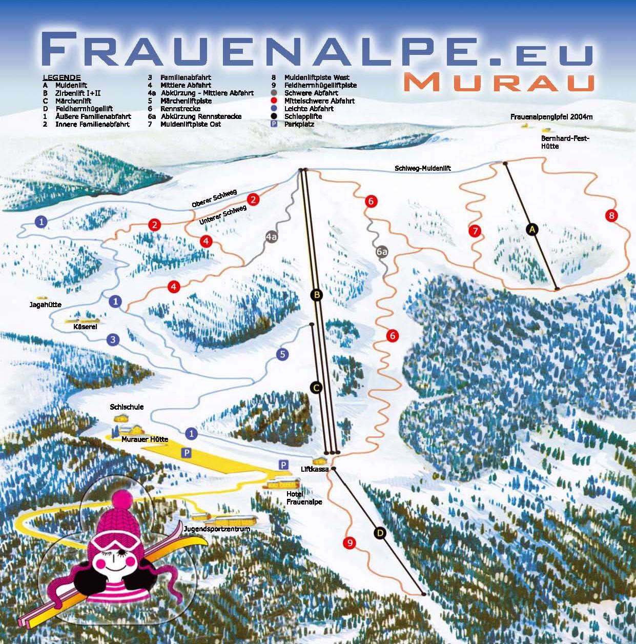 Lyžařská mapa sjezdovek areálu Frauenalpe