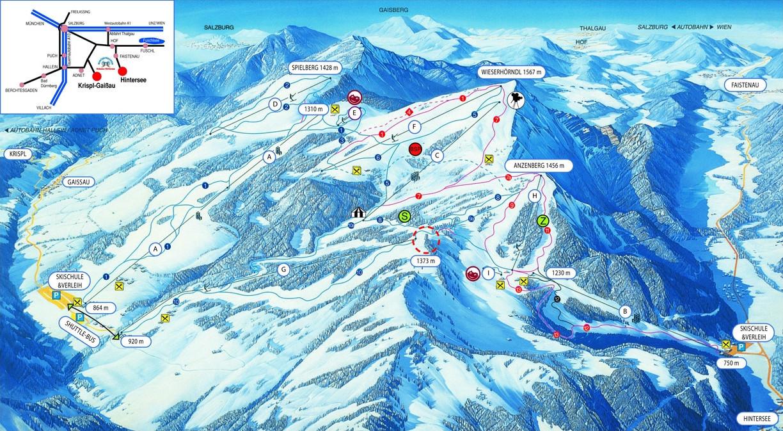 Lyžařská mapa sjezdovek areálu Gaissau - Hintersee