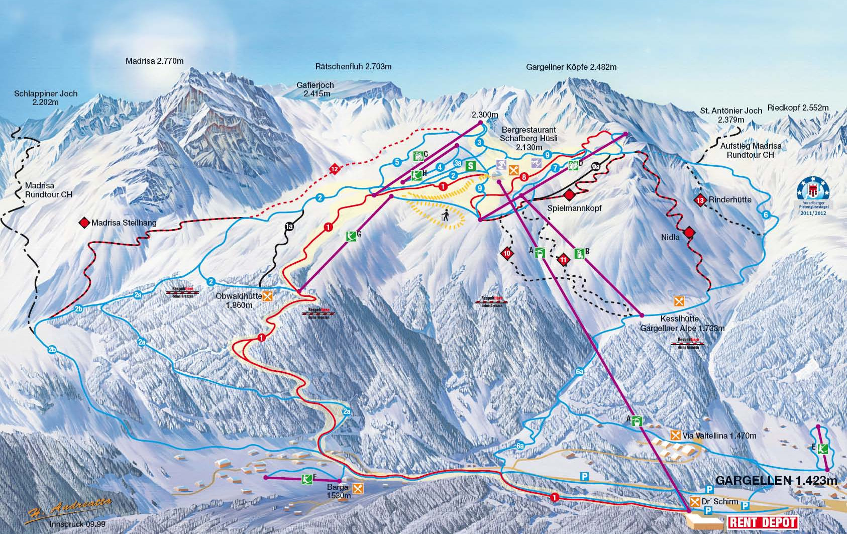 Lyžařská mapa sjezdovek areálu Bergbahnen Gargellen