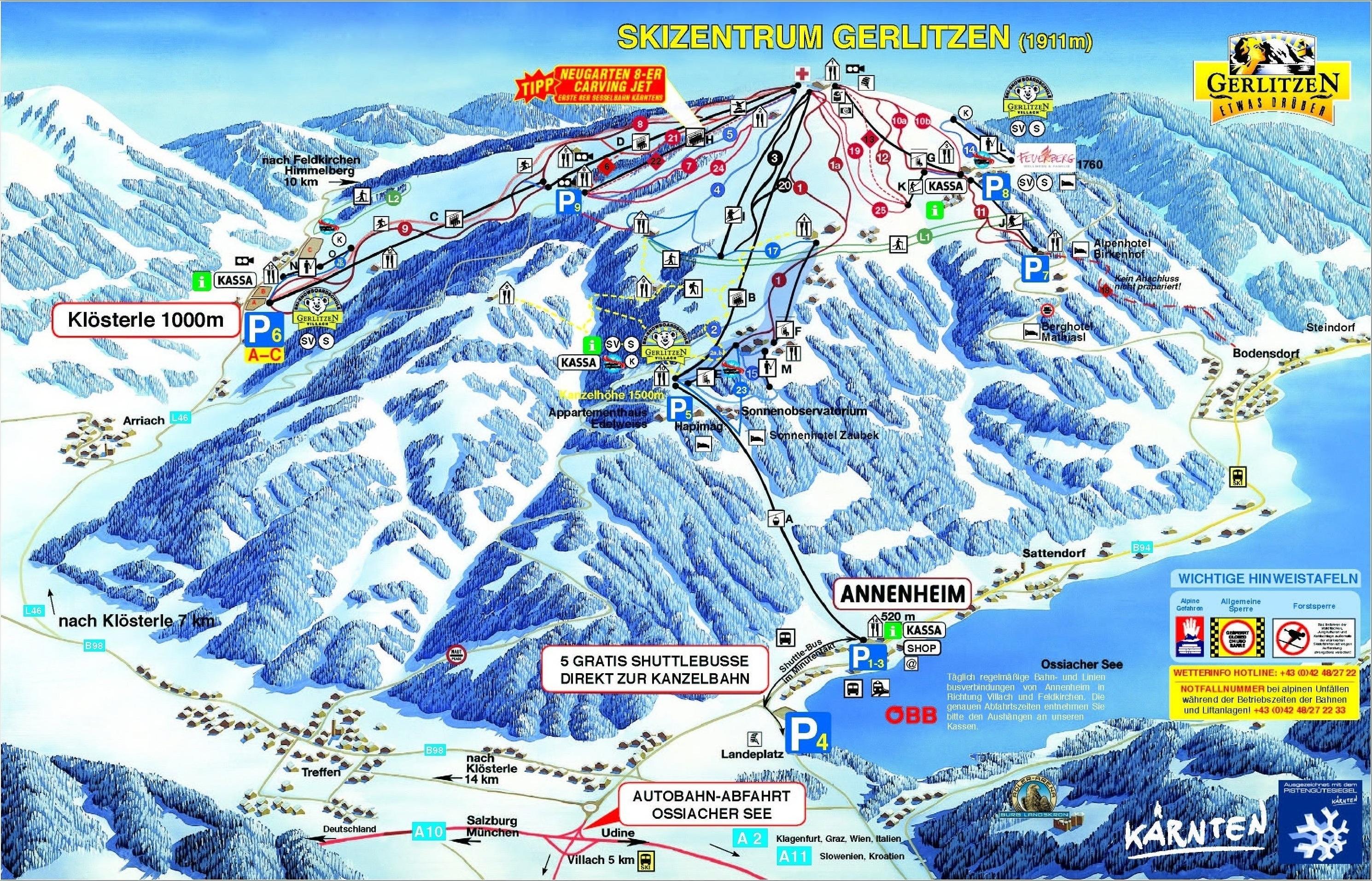 Lyžařská mapa sjezdovek areálu Gerlitzen