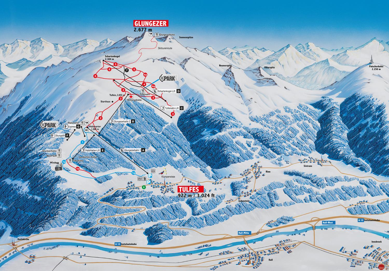 Lyžařská mapa sjezdovek areálu Glungezer