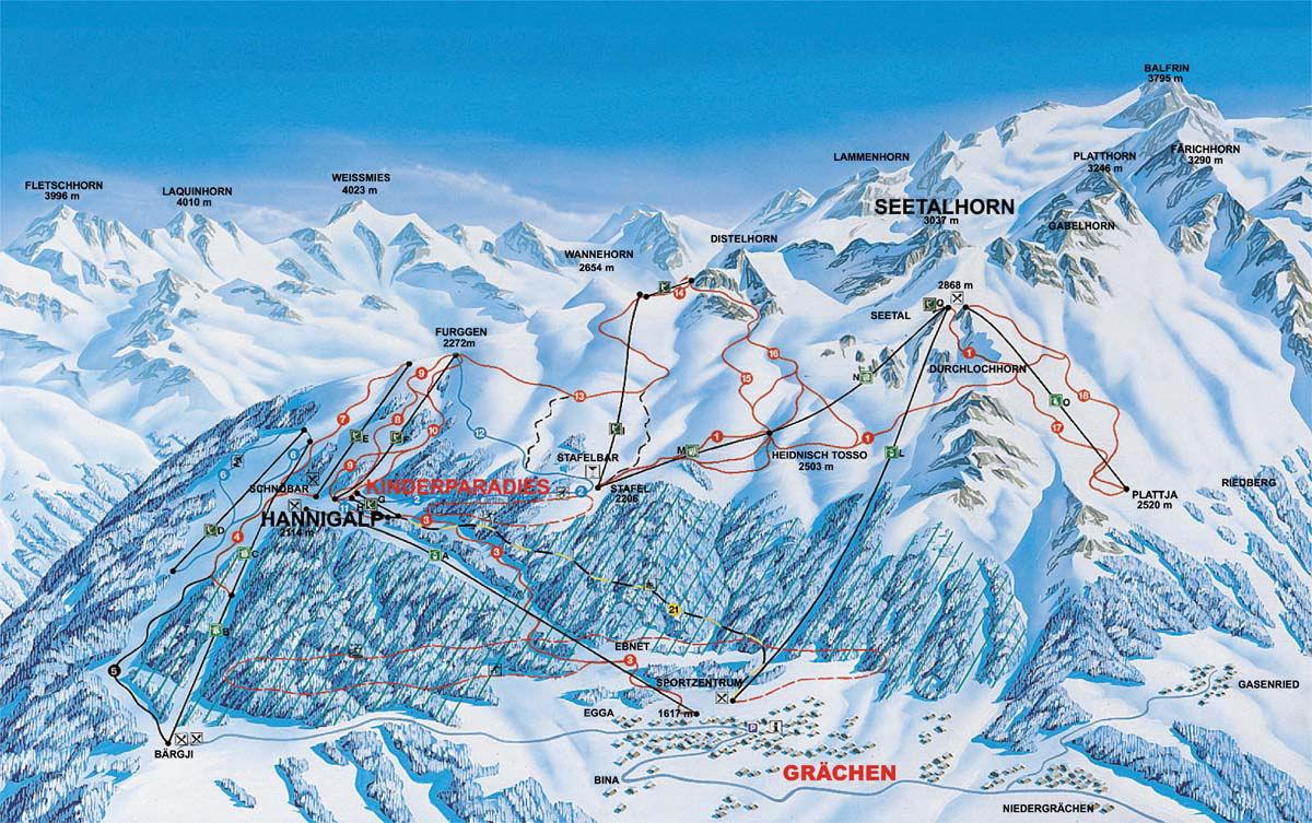 Lyžařská mapa sjezdovek areálu Grächen