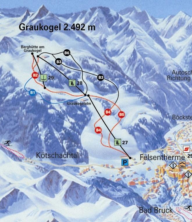 Lyžařská mapa sjezdovek areálu Bad Gastein / Graukogel