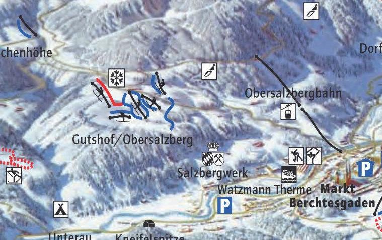 Lyžařská mapa sjezdovek areálu Gutshof Obersalzberg