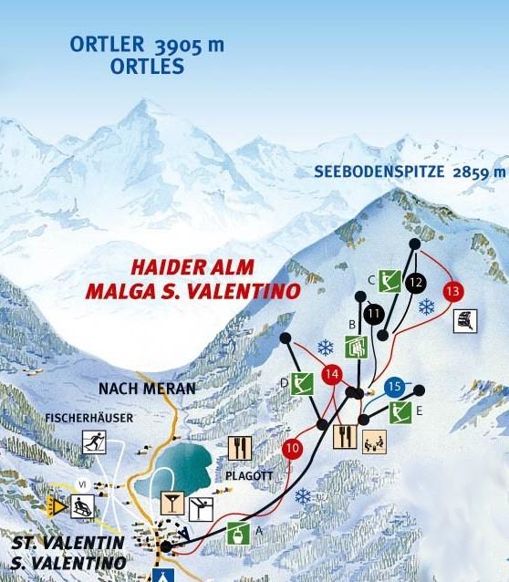 Lyžařská mapa sjezdovek areálu Haider Alm