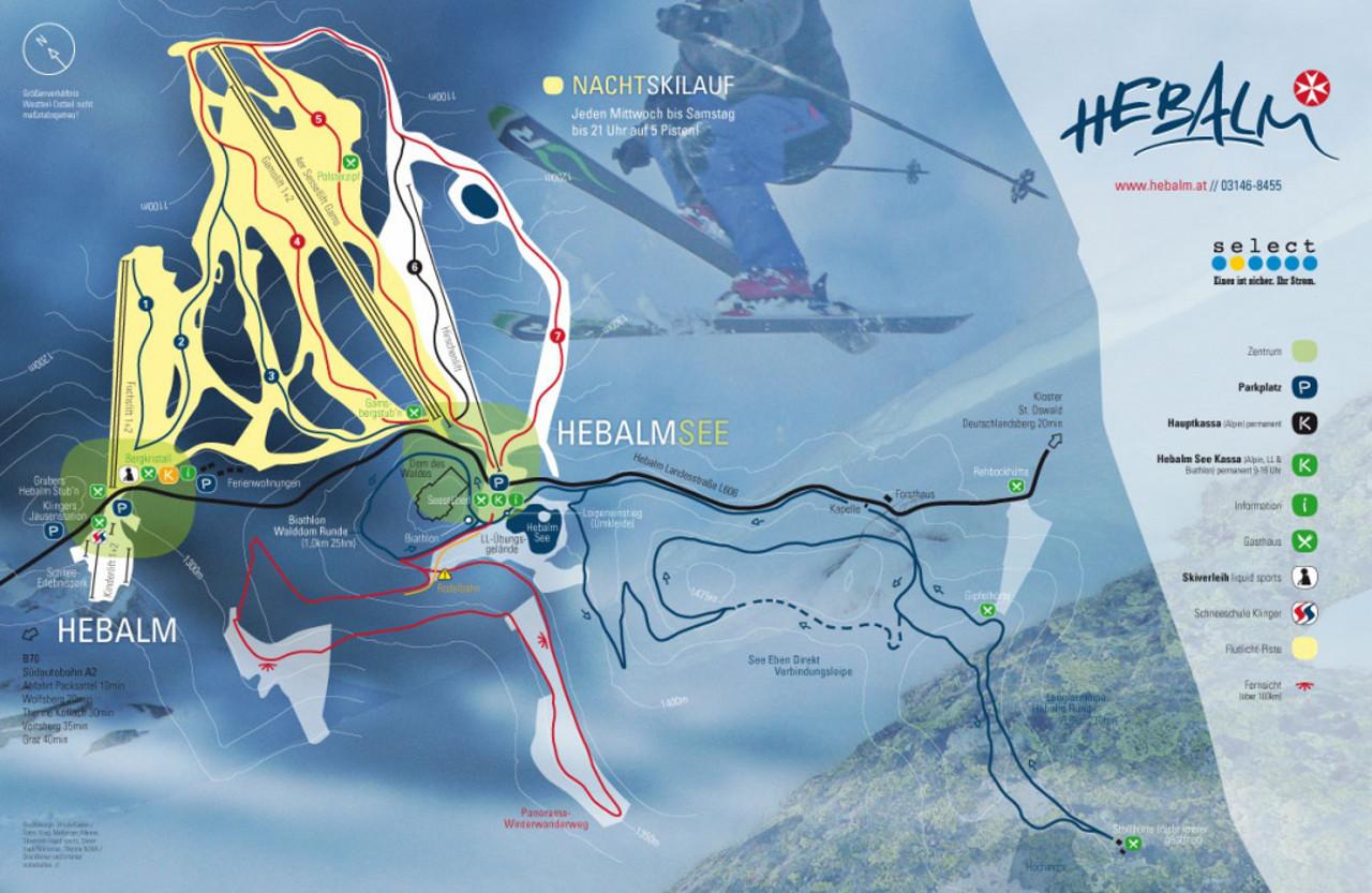 Lyžařská mapa sjezdovek areálu Hebalm