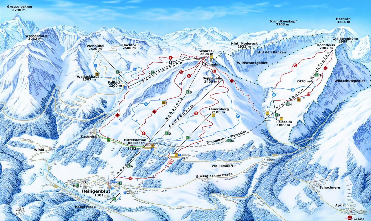 Lyžařská mapa sjezdovek areálu Grossglockner - Heiligenblut