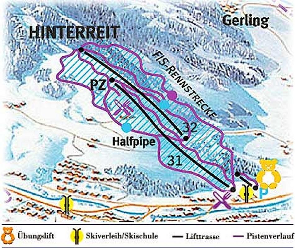 Lyžařská mapa sjezdovek areálu Hinterreit
