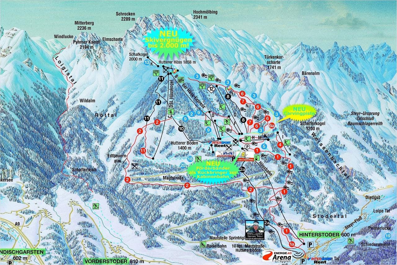 Lyžařská mapa sjezdovek areálu Hinterstoder