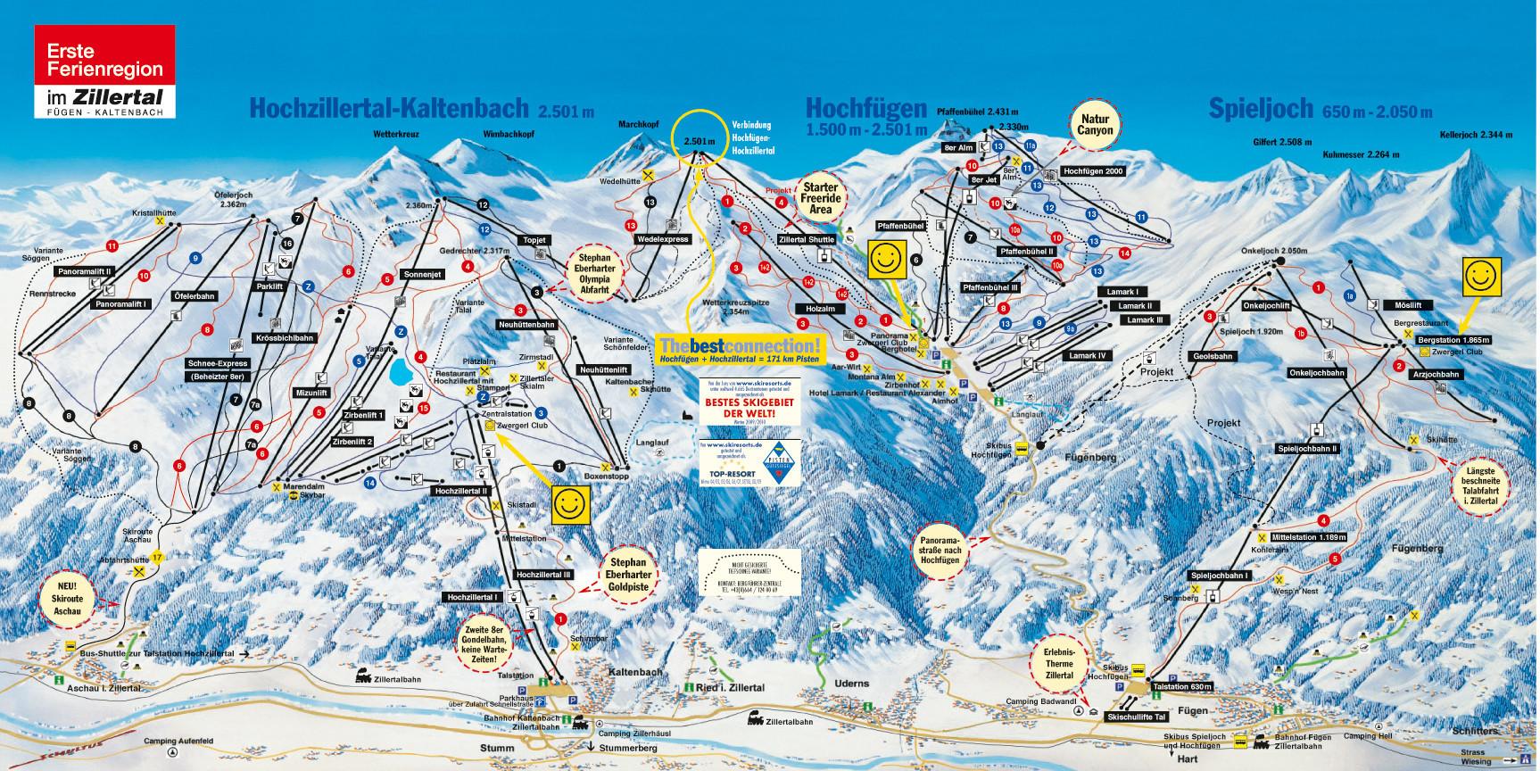 Lyžařská mapa sjezdovek areálu Hochfügen - Hochzillertal
