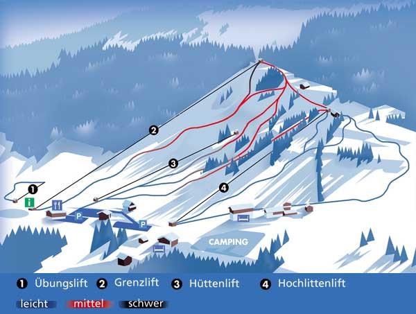 Lyžařská mapa sjezdovek areálu Hochlitten - Riefensberg