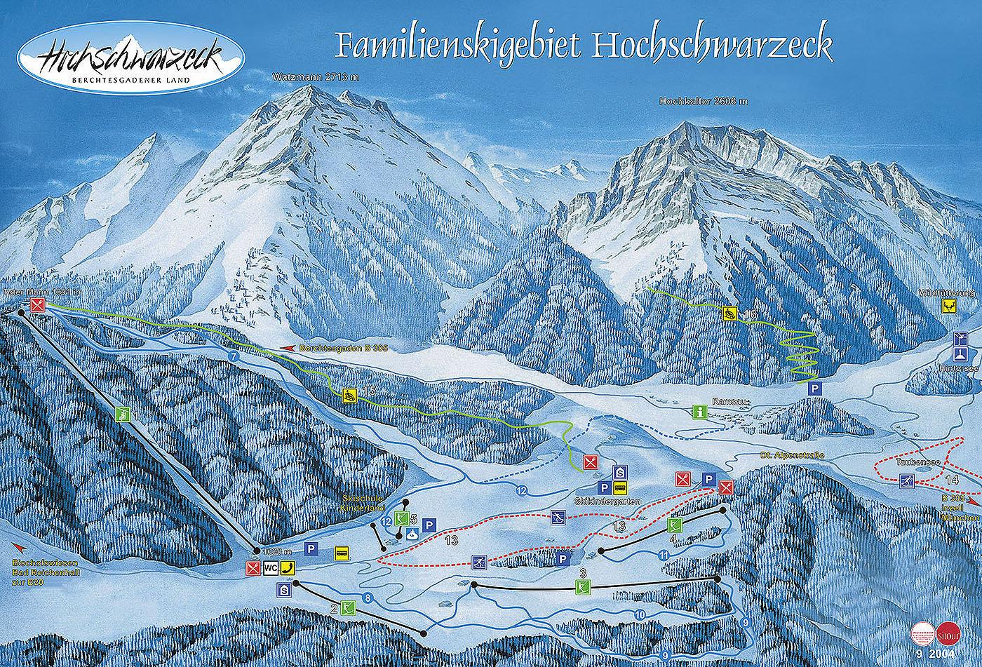Lyžařská mapa sjezdovek areálu Hochschwarzeck