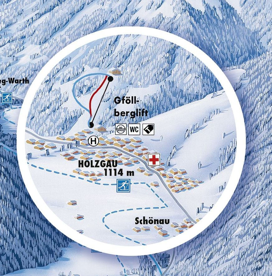 Lyžařská mapa sjezdovek areálu Holzgau