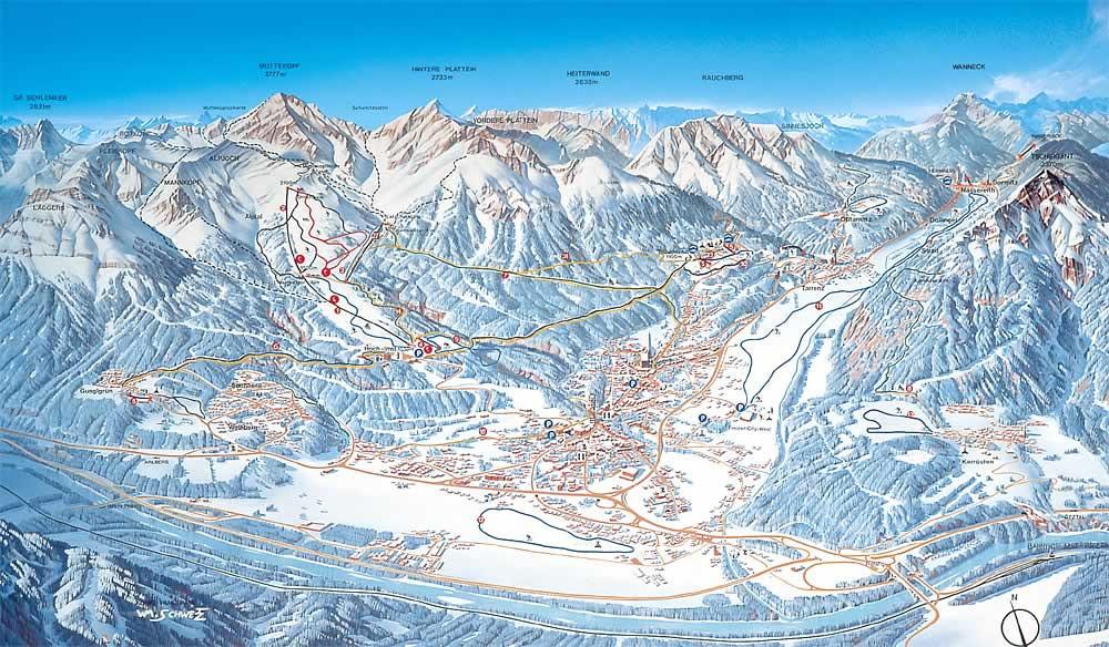 Lyžařská mapa sjezdovek areálu Imst - Gurgltal