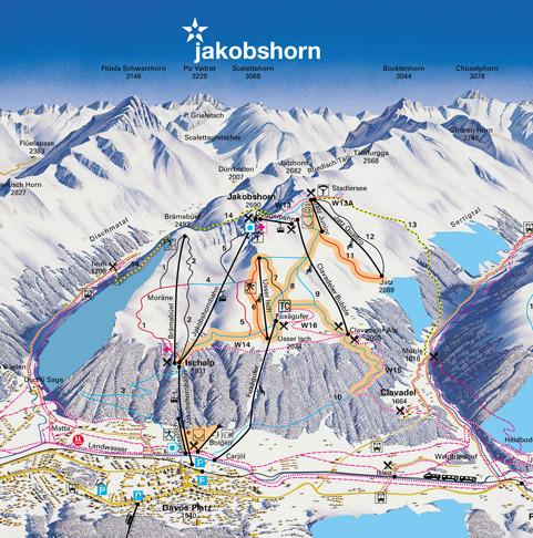 Lyžařská mapa sjezdovek areálu Jakobshorn