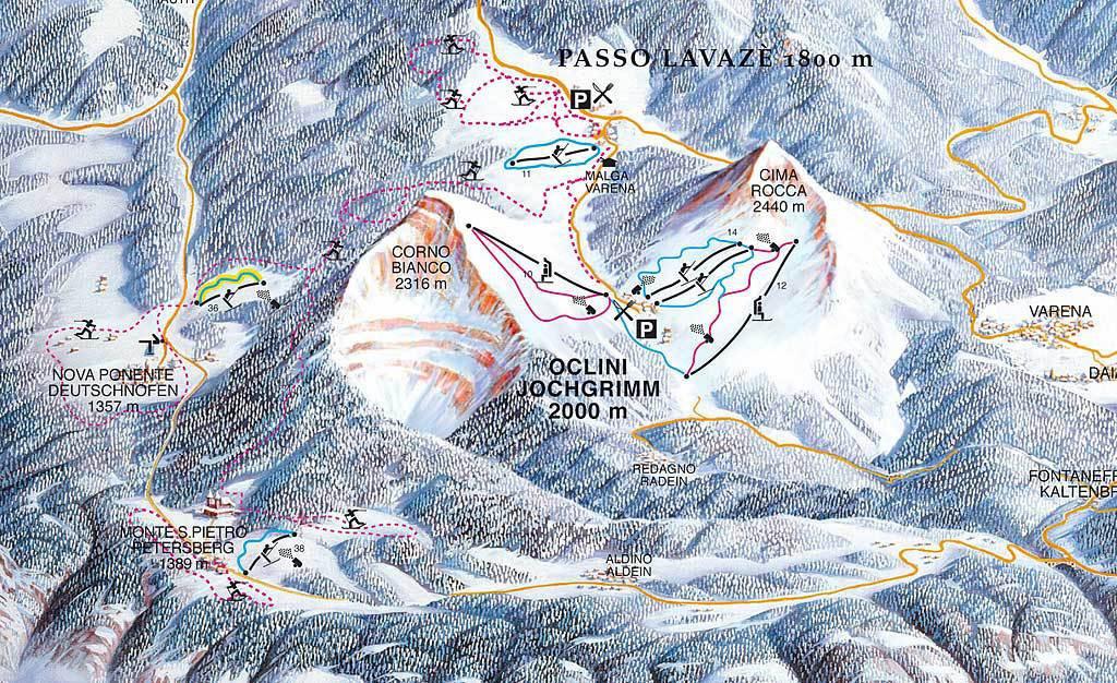 Lyžařská mapa sjezdovek areálu Jochgrimm