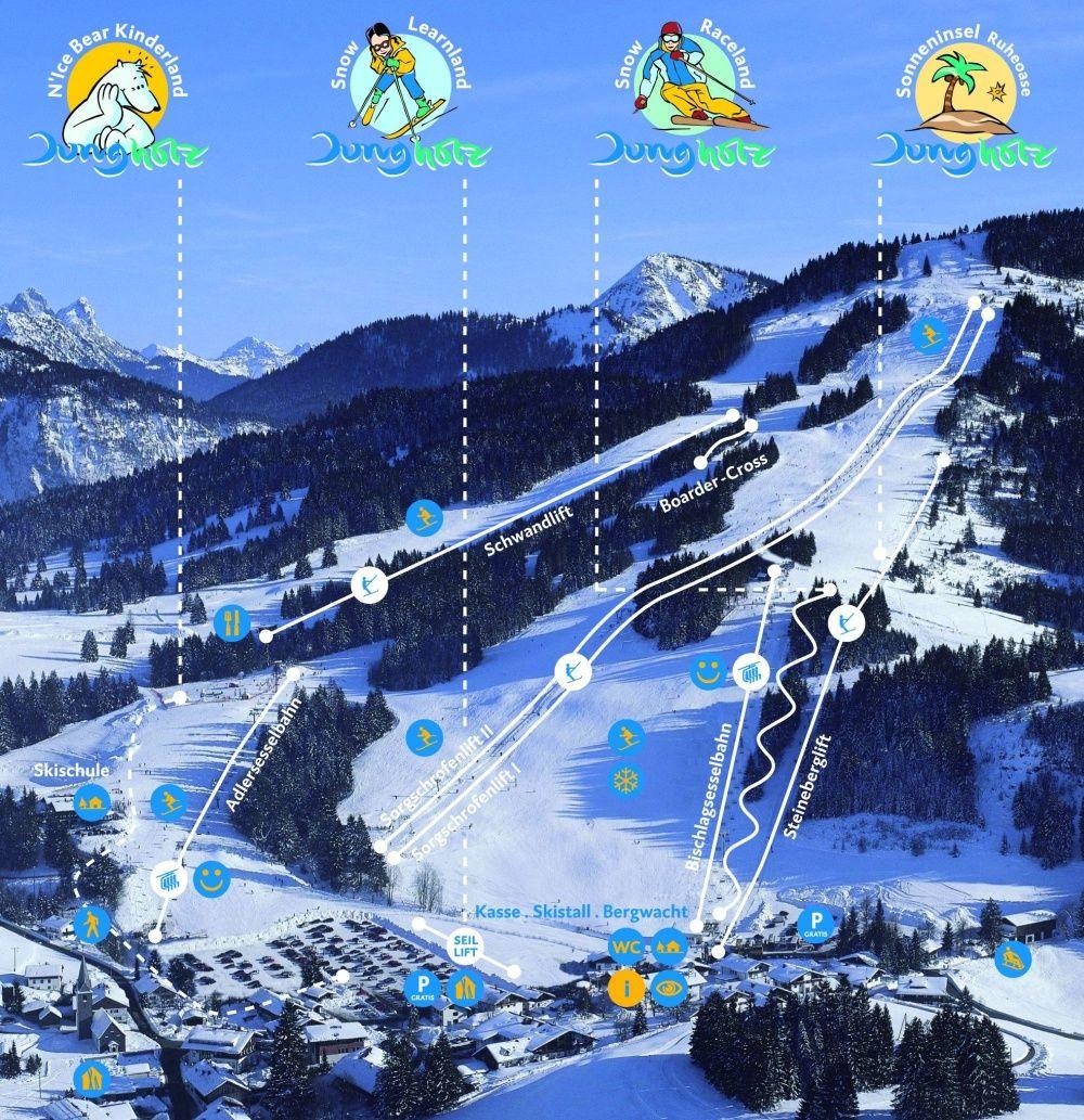 Lyžařská mapa sjezdovek areálu Jungholz
