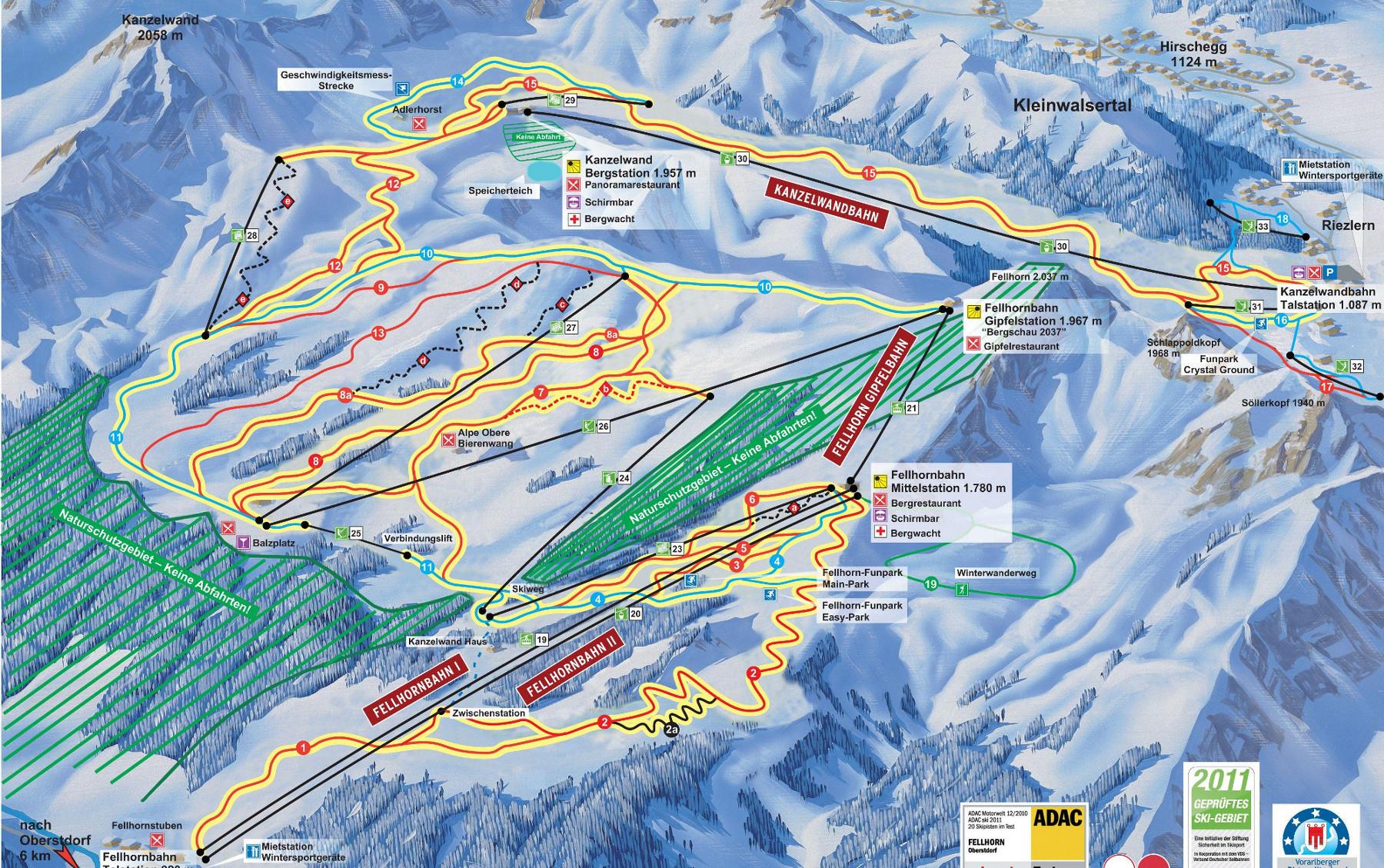 Lyžařská mapa sjezdovek areálu Kanzelwandbahn - Fellhorn