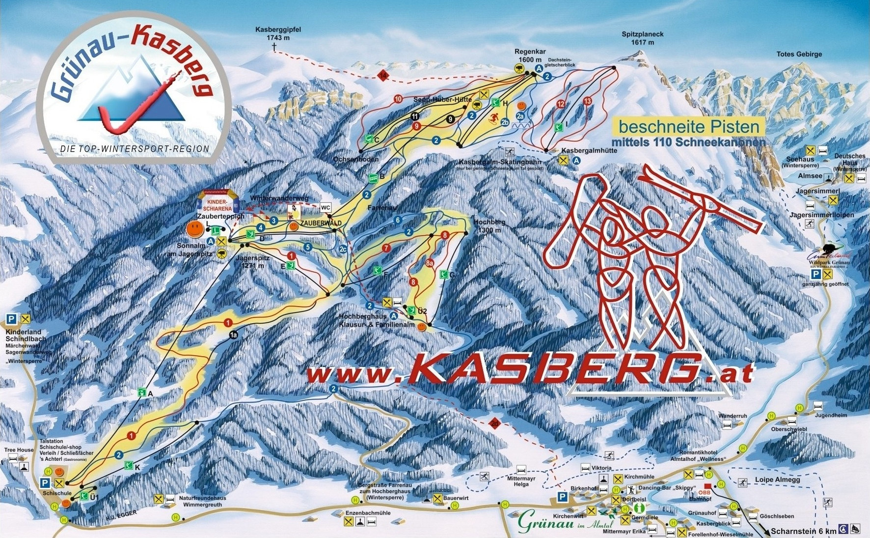 Lyžařská mapa sjezdovek areálu Kasberg