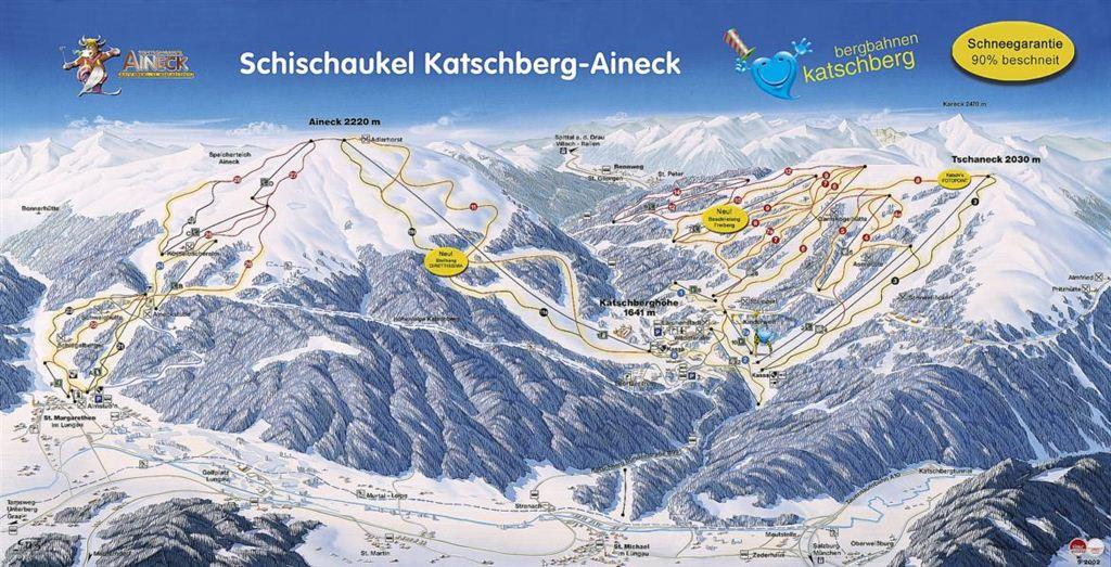 Lyžařská mapa sjezdovek areálu Katschberg - Aineck