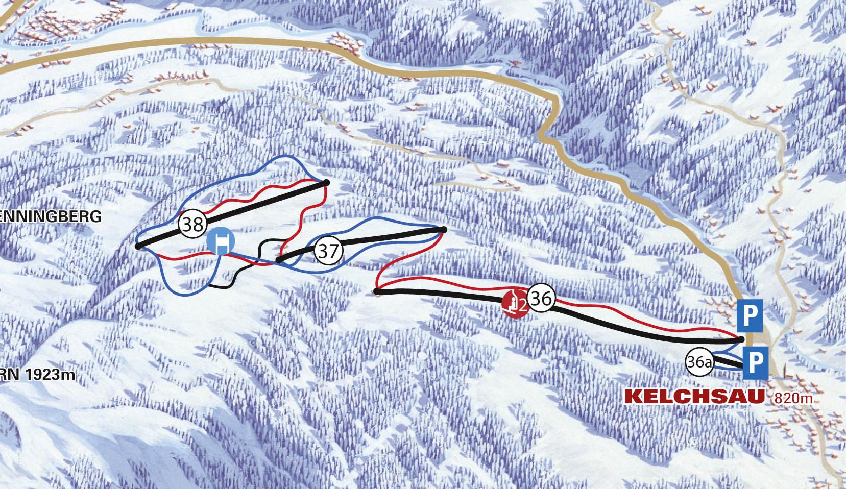 Lyžařská mapa sjezdovek areálu Kelchsau