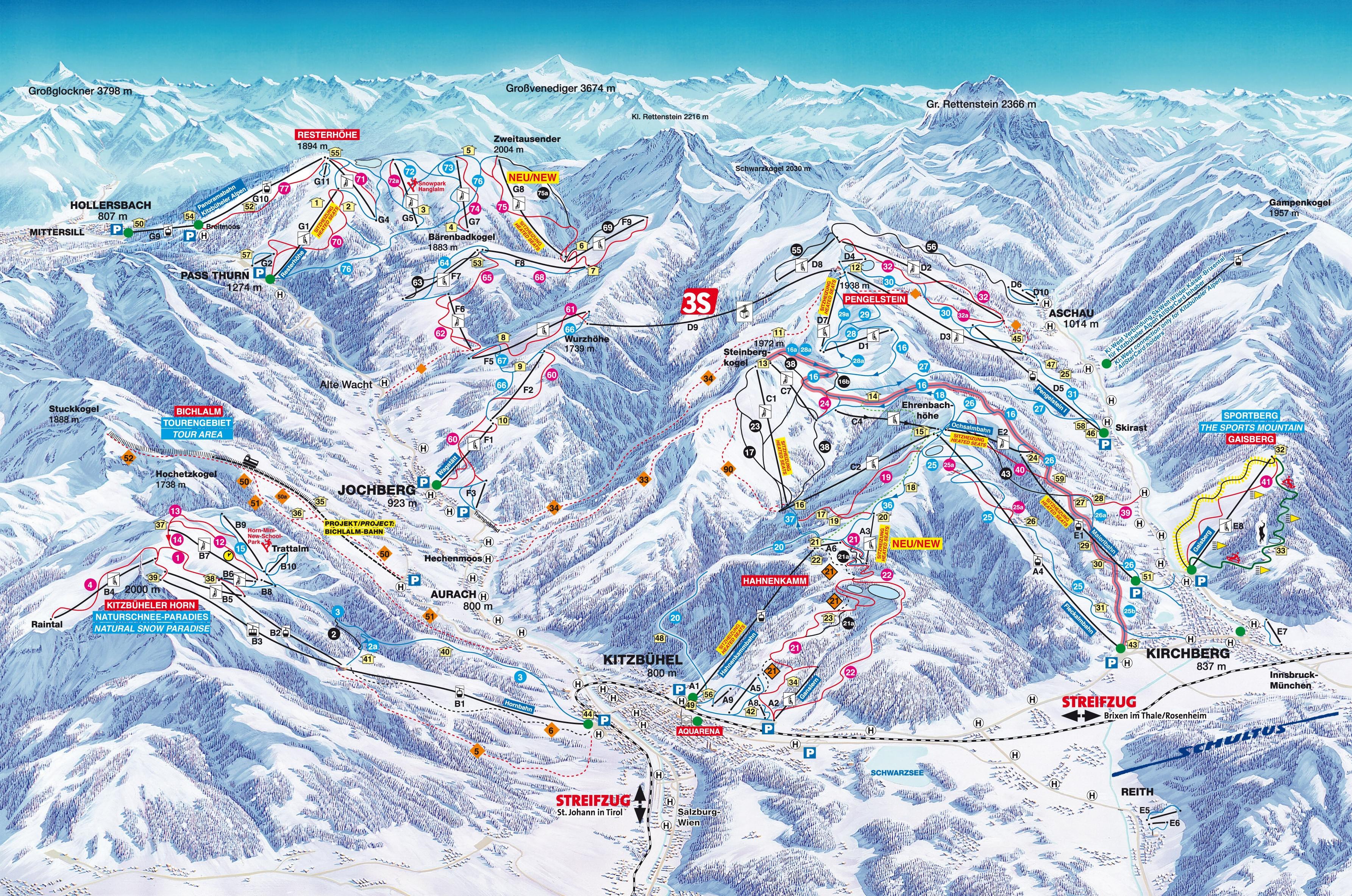 Lyžařská mapa sjezdovek areálu Kitzbühel / Kirchberg / Jochberg / Pass Thurn