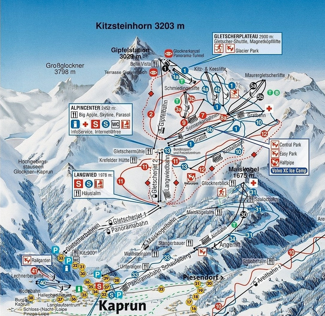 Lyžařská mapa sjezdovek areálu Kitzsteinhorn