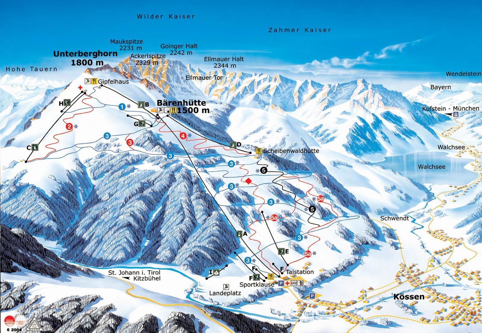 Lyžařská mapa sjezdovek areálu Kössen