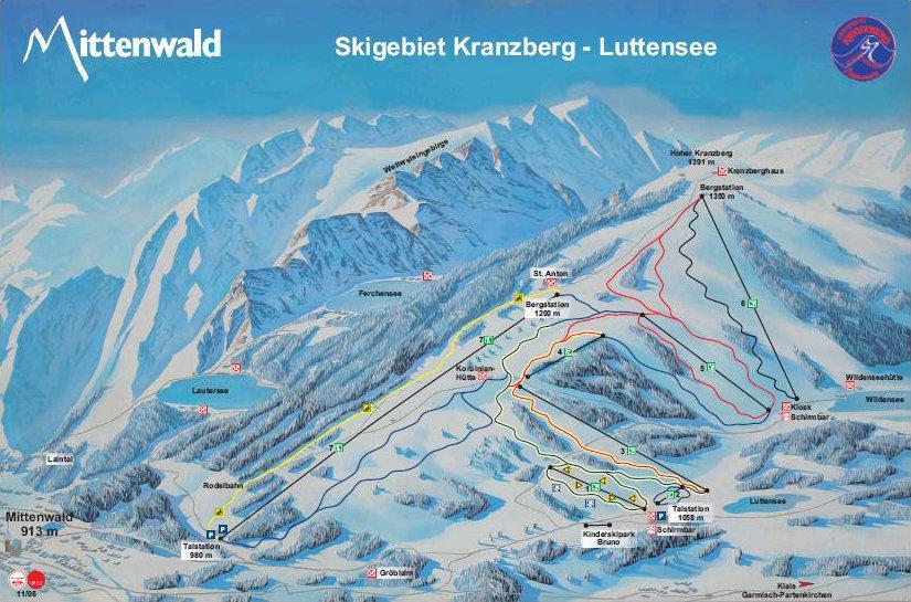 Lyžařská mapa sjezdovek areálu Kranzberg