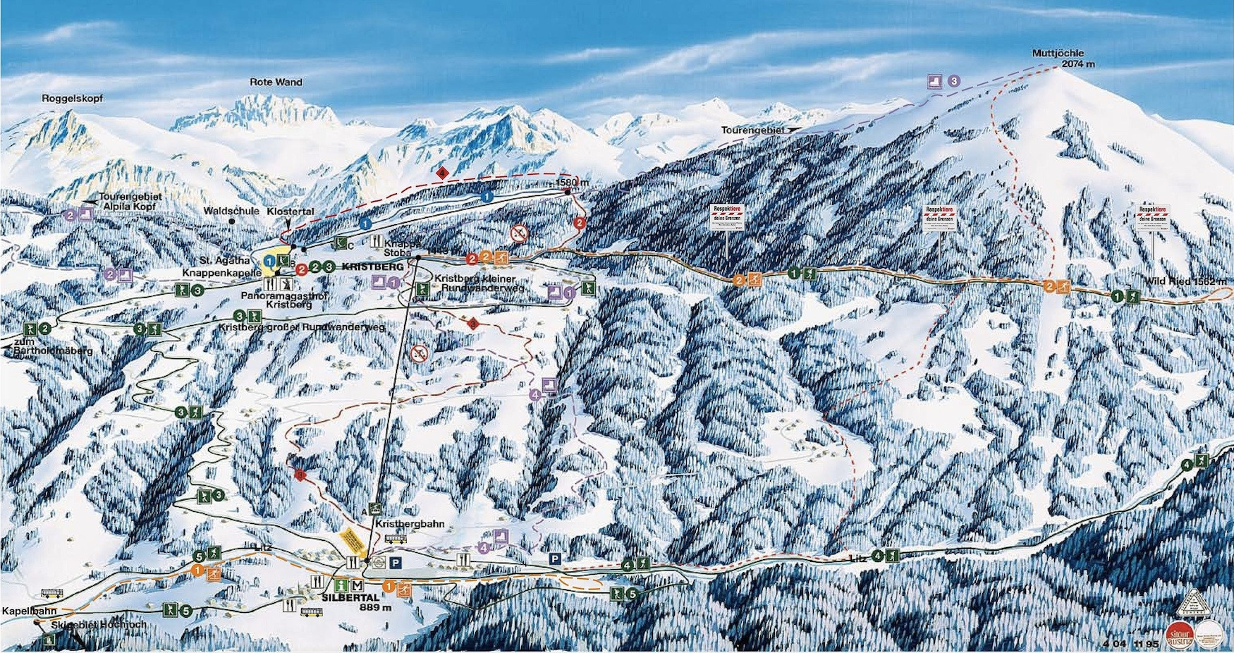 Lyžařská mapa sjezdovek areálu Kristbergbahn Silbertal