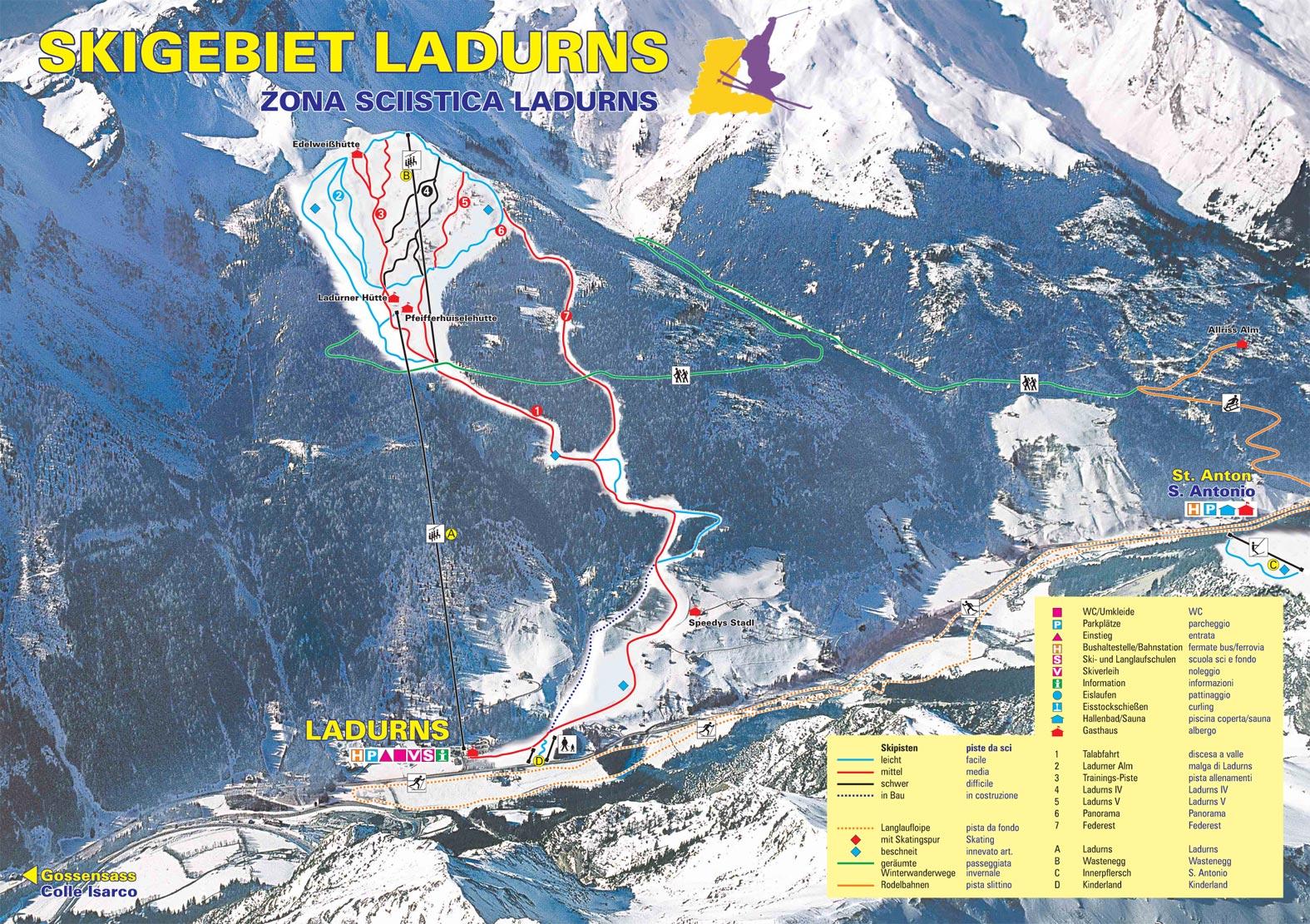 Lyžařská mapa sjezdovek areálu Ladurns