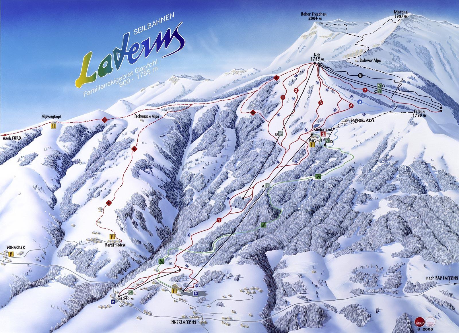 Lyžařská mapa sjezdovek areálu Laterns - Gapfohl