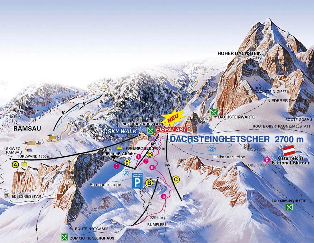 Lyžařská mapa sjezdovek areálu Ledovec Dachstein