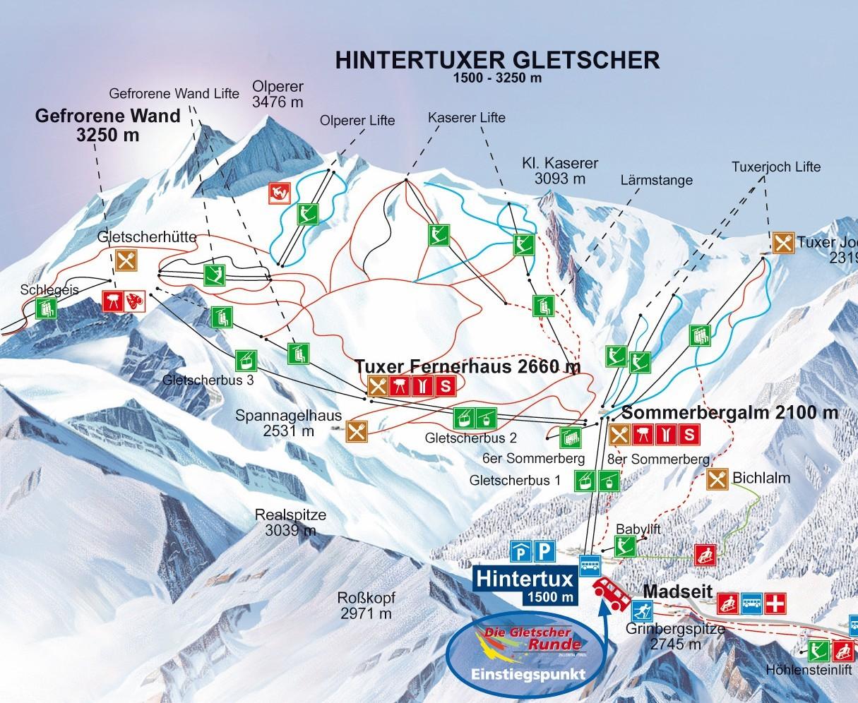 Lyžařská mapa sjezdovek areálu Ledovec Hintertux
