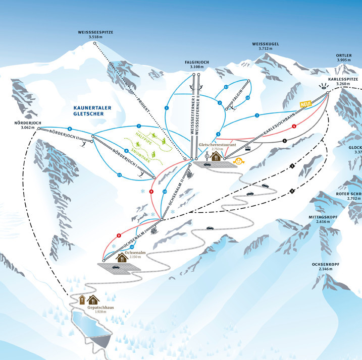 Lyžařská mapa sjezdovek areálu Ledovec Kaunertal