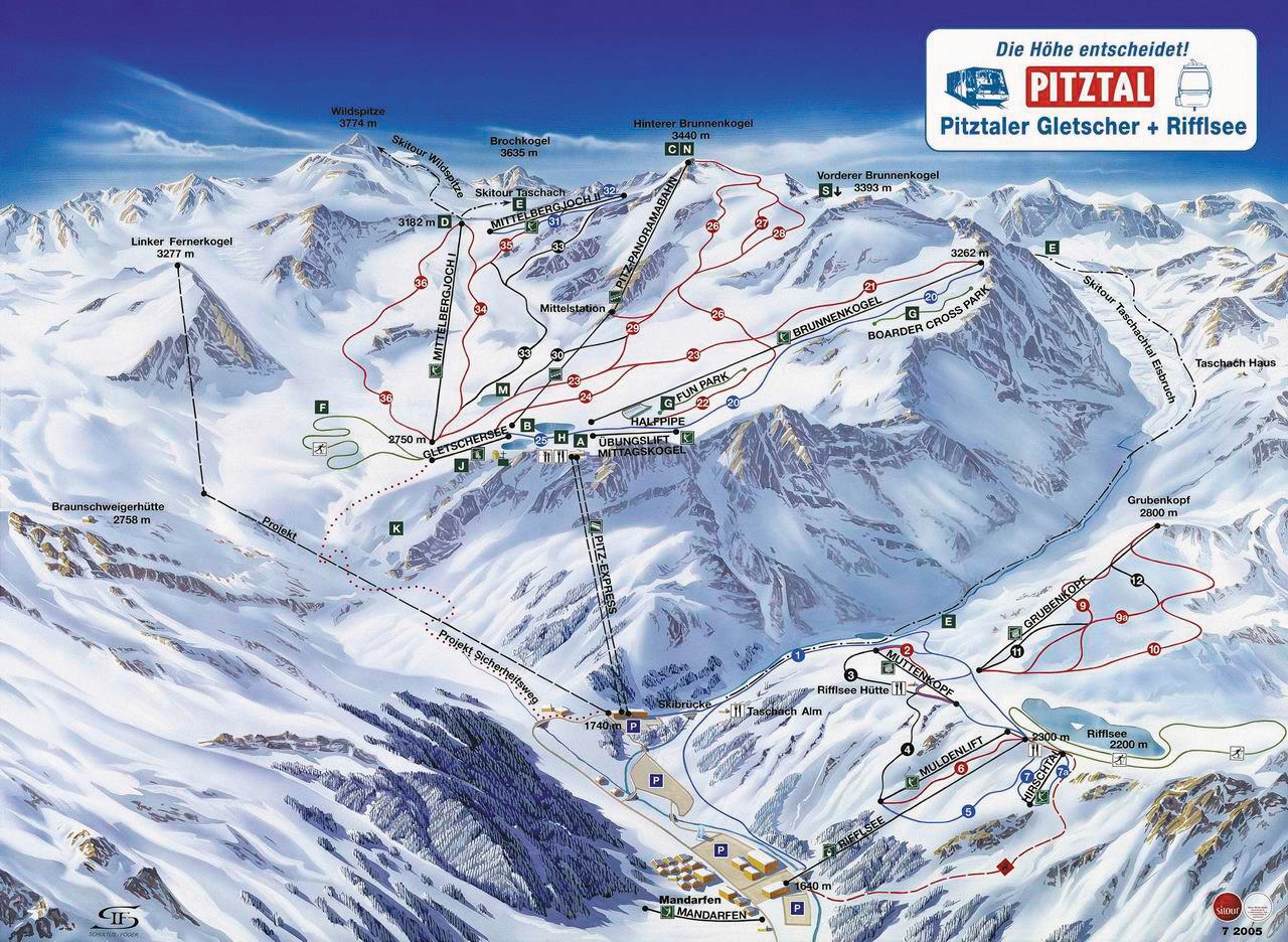 Lyžařská mapa sjezdovek areálu Ledovec Pitztal