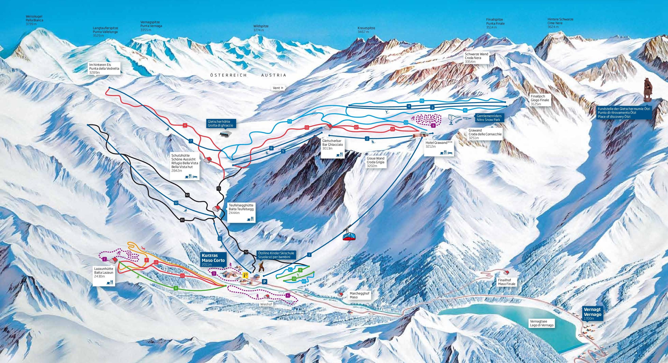 Lyžařská mapa sjezdovek areálu Ledovec Schnalstal