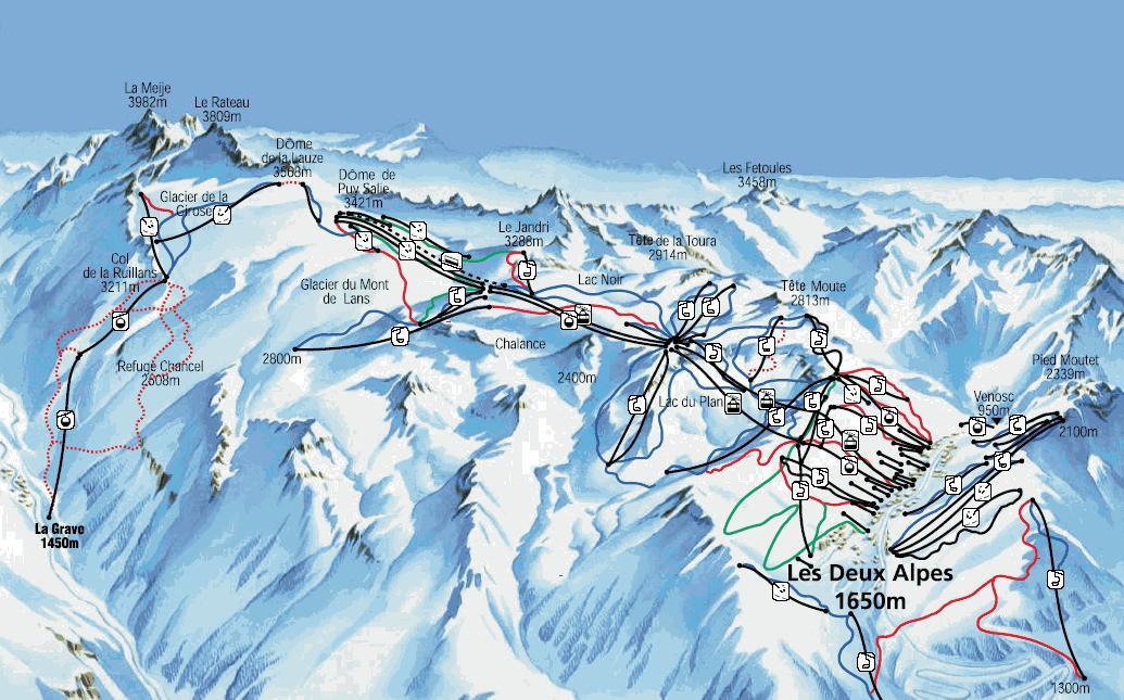 Lyžařská mapa sjezdovek areálu Les 2 Alpes - ledovec La Meije