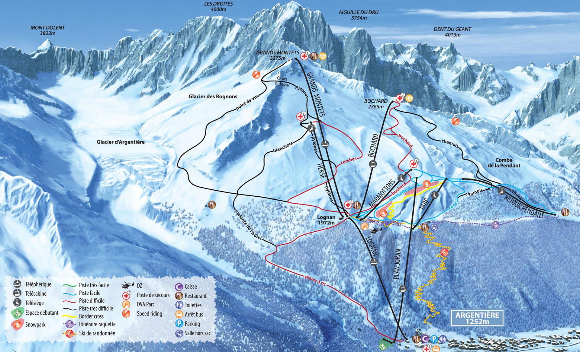 Lyžařská mapa sjezdovek areálu Les Grands Montets