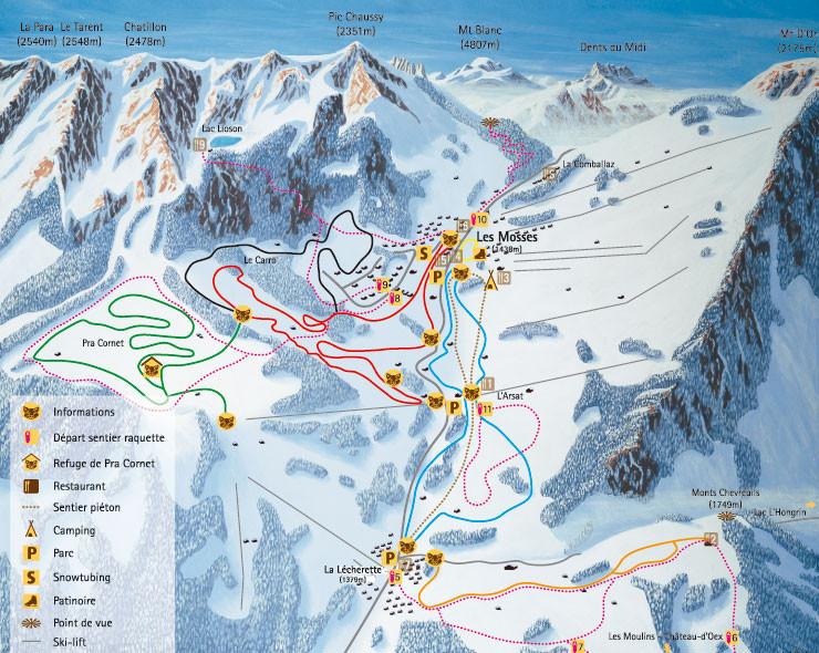 Lyžařská mapa sjezdovek areálu Les Mosses - La Lécherette